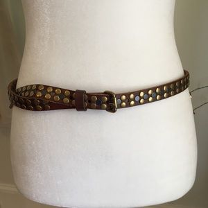 J. Crew Double Studded Genuine Leather Belt Brown